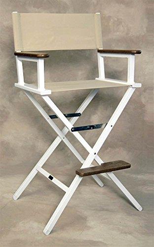 Linen Bridge - Sutton Bridge Monterey Linen Bar Chair with White Frame