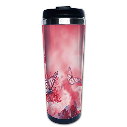 Stainless Steel Insulated Coffee Travel Mug,Butterflies Dreamy Spring Garden Buds Blooms,Spill Proof Flip Lid Insulated Coffee cup Keeps Hot or Cold 13.6oz(400 ml) Customizable printing ()