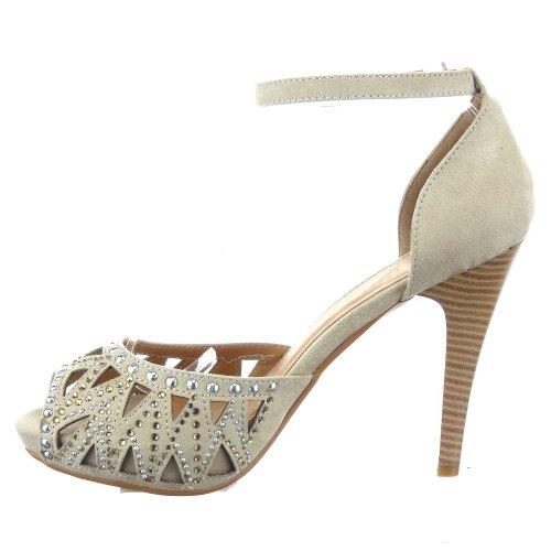 Sopily - Chaussure Mode Escarpin Sandale Stiletto Cheville femmes clouté Talon aiguille haut talon 10 CM - Beige/Or