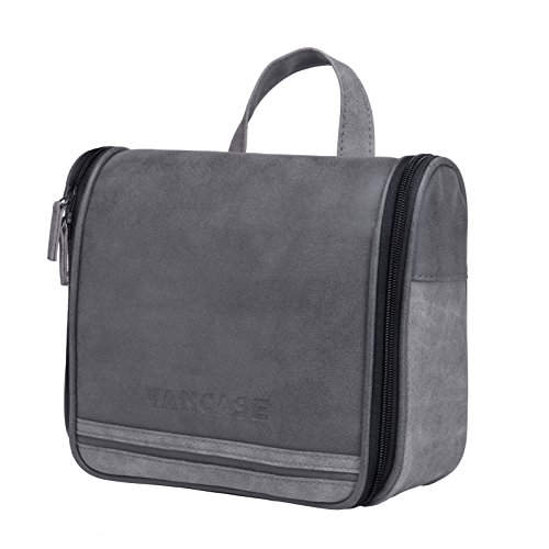 Hanging Toiletry Bag for Men VANCASE Vintage Leather Shaving Dopp Kit Medium Waterproof Travel Bathroom Bags Portable Makeup Organizer (Dark Gray) (Travel Mens Grooming)