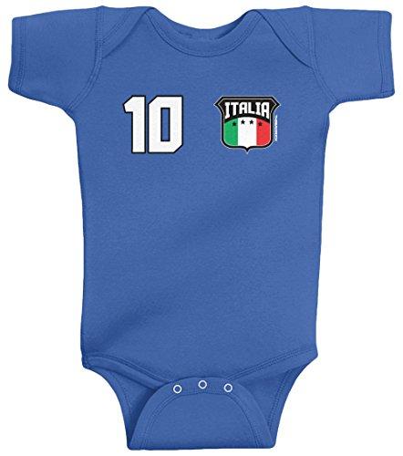 Infant Creeper Number (Threadrock Unisex Baby Italia Shield & Number Bodysuit 18M Royal Blue)