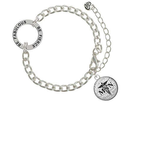 Domed Black MSN Be Fierce Be Fabulous Affirmation Link Bracelet (Diamond Graduate Charm Girl)
