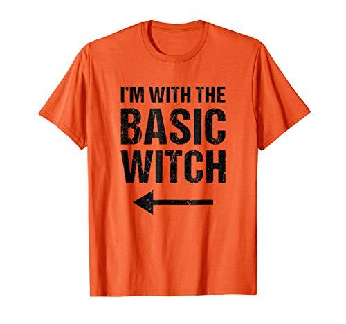 Mens Halloween Couples Costume Shirt I'm With The Basic Witch Large Orange