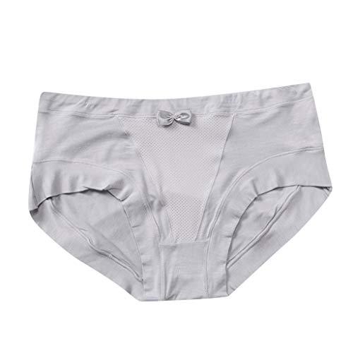 (Womens Seamless Laser Cut Bikini Briefs Soft and Comfort Underwear Gray )