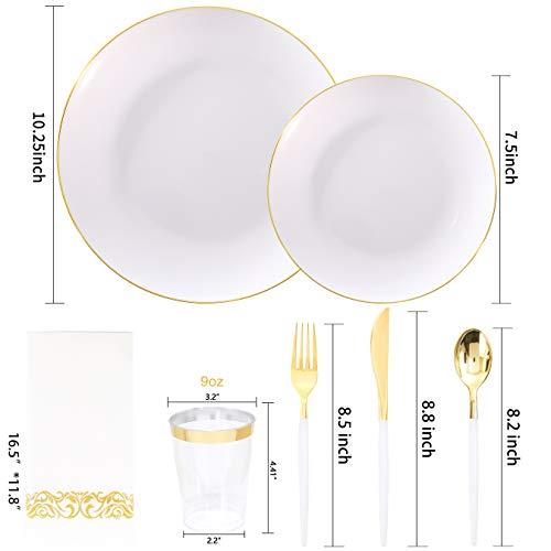 Nervure 350 PCS White and Gold Plastic Plates & Silverware