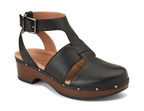 Vionic Women's Day Faye T-Strap Casual Clog - Ladies Clog with Concealed Orthotic Support Black 8M