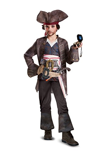 POTC5 Captain Jack Sparrow Deluxe Costume, Multicolor, Medium (7-8) ()