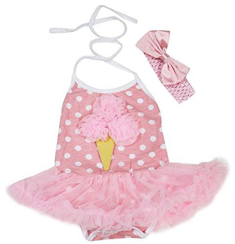 Pink Ice Cream Dots - Birthday Dress Ice Cream Polka Dots Pink Halter Neck Bodysuit Tutu Set Nb-24m (12-24 Months)