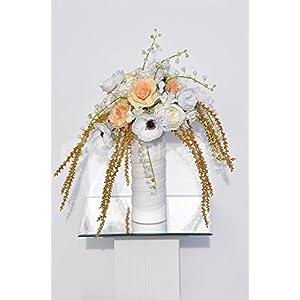 Vintage White & Peach Anemone Rose & Snowdrop Floral Arrangement 46