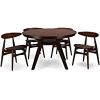 Baxton Studio 5 Piece Flamingo Mid-Century Dining Set, Dark Walnut