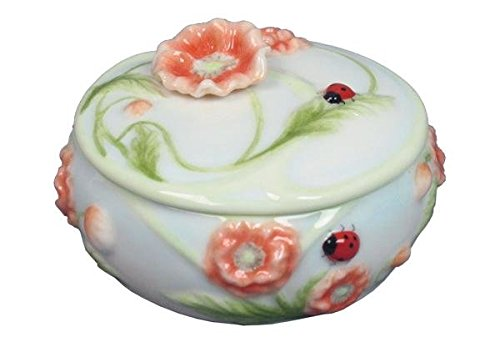2.25 Inch Round Glazed Porcelain Trinket Box Poppy and Ladybug Motif