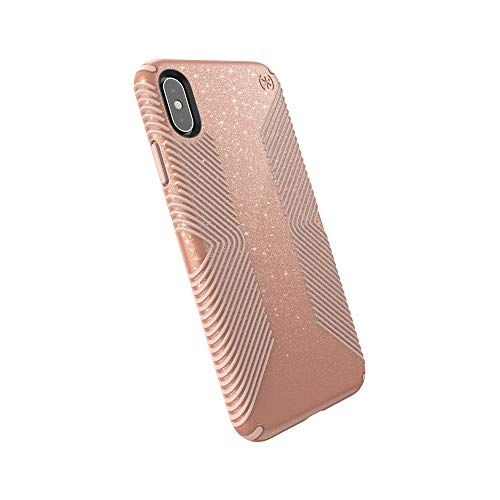 Speck Products Compatible Phone Case for Apple iPhone Xs Max, Presidio Grip + Glitter Case, Bella Pink with Gold Glitter/Dahlia Peach