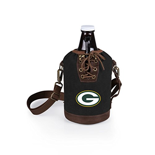 n Bay Packers Canvas Lace-up Growler Tote with 64 oz Amber Glass Growler, Black ()
