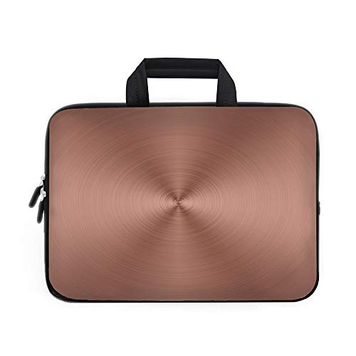 Copper Laptop Carrying Bag Sleeve,Neoprene Sleeve Case/Circle Copper Steel Texture Inspired Radial and Round Plaque with Shades Image Print Decorative/for Apple Macbook Air Samsung Google Acer HP DELL