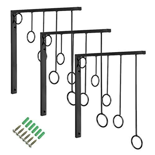 Sumancon Retail Clothing Garment Display Racks, Wall Mounted Closet Hanger Bracket, Metal Design with 5 Level Rings and Space Saving for Boutique, Laundry Room, Bedroom, Hotel, Set of 3 (Black)