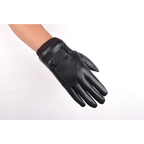 Sunnystore Winter Touch Screen Gloves, Black Men Winter Leather Motorcycle Full Finger Touch Screen Warm Gloves