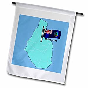 777images Flags and Maps - North America - Flag and map of Monserrat with waving Monserrat flag - 12 x 18 inch Garden Flag (fl_49045_1)