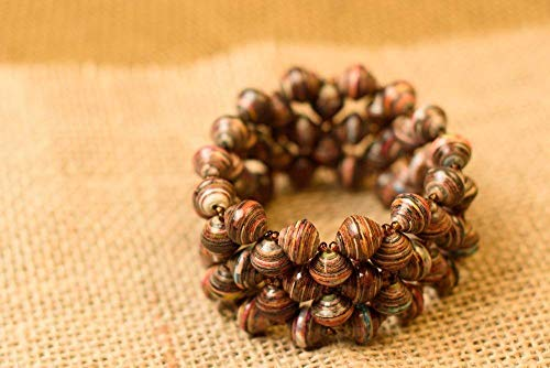 Paper Bead Stretch Imara Cuff Bracelet - Earthtone - Fair Trade BeadforLife Jewelry from Africa ()