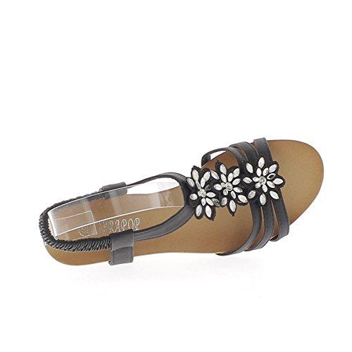 3 y 5 cm pequeño talón rhinestone negro cuña sandalias flores