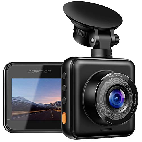 【Updated】 APEMAN Dash Cam 1080P Full HD Mini Dash Camera for Cars Recorder Super Night Vision, 170° Wide Angle, Motion Detection, Parking Monitoring, G-Sensor, Loop Recording ()