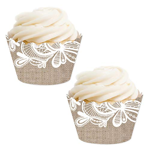 Andaz Press Party Cupcake Wrapper Decorations, Burlap Lace, 24-Pack, for Girls 1st Birthday Baby Bridal Shower Tea Party Themed Decorations -