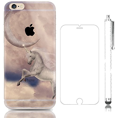 iphone 4 4S cute white horse pattern case,Sunroyal Translucent Soft TPU Silicone Crystal Cartoon Cover for iPhone 4 4S Slim Durable Bumper Back + Hard Glass Screen Protector + Glitter Stylus Pen
