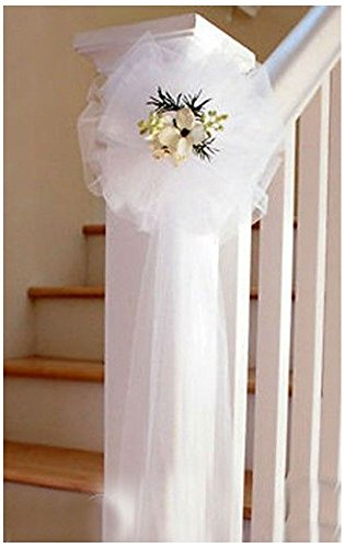 12 WHITE TULLE NET WEDDING PEW BOWS BRIDAL DECORATION by Unknown