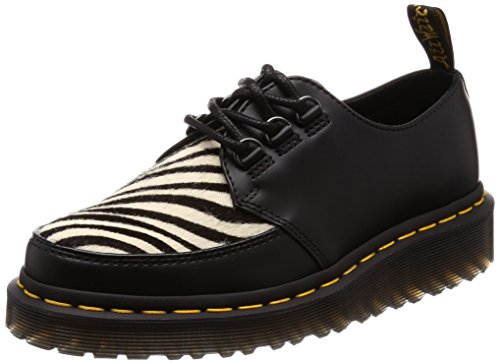 Dr. Martens Ramsey Zebra Unisex Leather Creeper Style Shoes - Black Zebrino Black & Black and White f8VPG