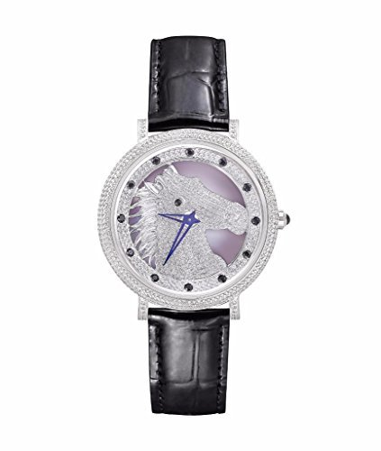 Horse Watch For Men Women Lab Diamonds Black Leather Band Strap Imani Collection Sale