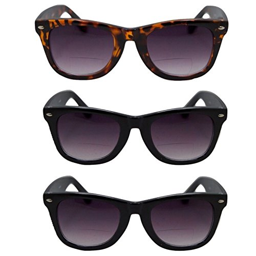 3 Pair Classic Wayfarer Bifocal Outdoor Reading Sunglasses - 2 black/1 tort - Sunglasses Pair 3