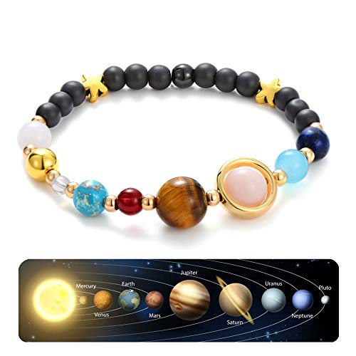 Handmade Universe Guardian Bracelets Nine Planets Star Natural Stone Astronomy Bracelet for Women Men Gift 1Pcs