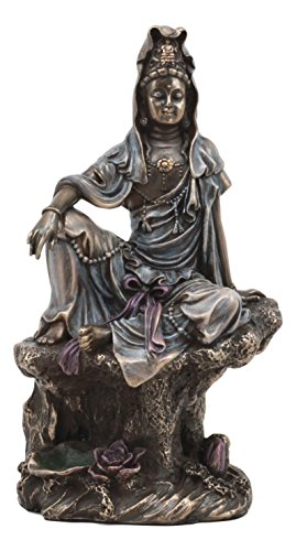 - Ebros The Water And Moon Goddess Kuan Yin Bodhisattva Statue In Bronze Finish Resin 7