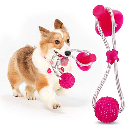 ODOLDI Pet Molar Bite Toy, Multifunction Interactive Ropes Toys, Self-Playing Rubber Chew Ball Toy with Suction Cup…