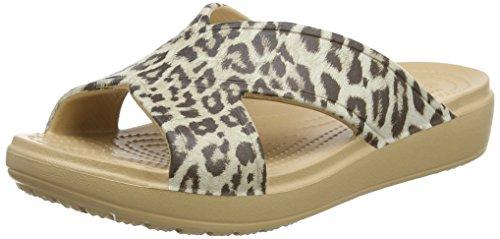 Femme Sloanegrphxstrp leopard Mules Crocs Multicolore nawW7cwx