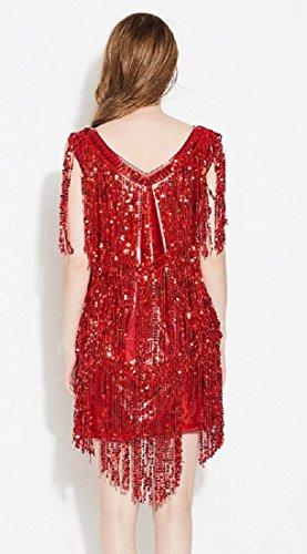 Donne Ondeggiamento Vestito Delle 1920 Gatsby Alion Flapper Frangia Rossa Cocktail Vestito Nappa qSnw0t1