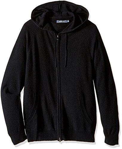 Michael Stars Men's Cashmere Blend Full Zip Sweater Hoodie, Black, Small