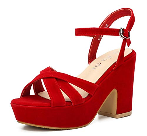 (Women's Wedge Platform Sandals Peep Round Toe Chunky Heeled Pumps Shoes Red Velvet Size US 8 EU 39)