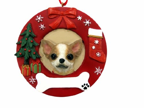 Tan Ornaments Christmas (E&S Pets Tan Chihuahua Personalized Christmas Ornament)