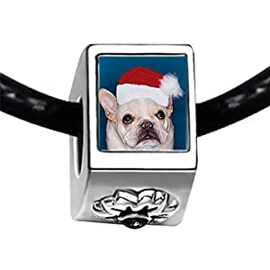 Chicforest Silver Plated Wearing a Santa Hat dog Photo Black Crystal Flower Charm Beads Fits Pandora Bracelet
