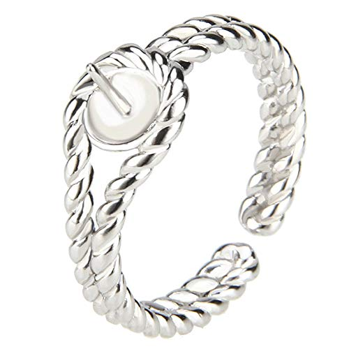 NY Jewelry 925 Sterling Silver Twisted Rope Ring for Pearl, Adjustable Pearl Ring Mounts Fittings for Women DIY Jewelry Making