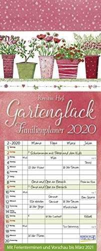 Familienplaner Gartenglück - Familienplaner 2020 für 4 Personen - Korsch-Verlag - Kalender mit 4 Spalten zum Eintragen - 19 cm x 47 cm
