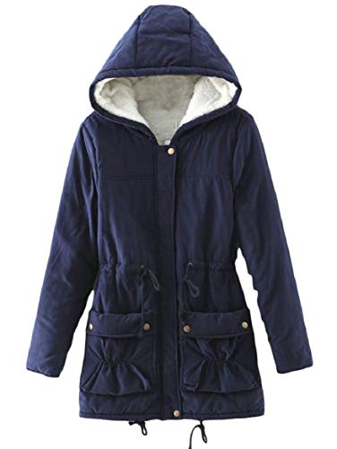 with Dark security Wool Quilted Women's Jacket Drawstring Stylish Splicing Blue Pockets Hood Lamb TTUP5xqw