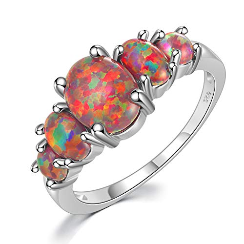 CiNily Orange Fire Opal Ring Women Jewelry Sterling Silver Plated Gemstone Ring Size 7 (Fire Ring Mens Opal)