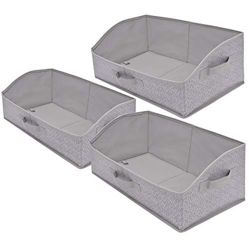 GRANNY SAYS Storage Bins, Closet Organizer Bins,Foldable Closet Organizer Trapezoid Storage Box,Gray, 3-Pack