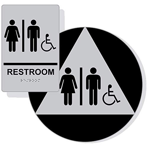 Unisex Accessible Restroom Sign Set with ADA Braille, 2 Pieces for Wall/Door, 12 in. Black on Silver Acrylic with Mounting Strips by ComplianceSigns ()