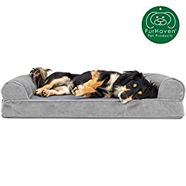 Furhaven Pet Dog Bed | Therapeutic Sofa-Style Traditional Living Room Couch Pet Bed w/ Removable Cover for Dogs & Cats – Available in Multiple Colors & Styles