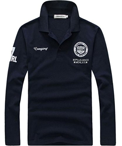 [ミート] ポロシャツ メンズ 長袖 綿 ビジネス カジュアル トップス ゴルフ ウェア ワンポイント ワッペン 付 シャツ ロンティー ロンT