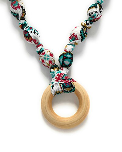 Teething Necklace for Moms; Promote Baby's Sensory Stimulation and Provide Teething Relief with Natural Maple Wood, Cotton Fabric encased Beads - Great for Baby ()
