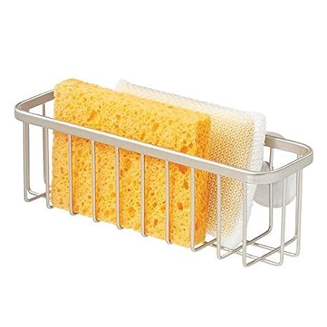 mDesign Accesorios para la cocina con ventosas - Ideal como porta esponjas o porta estropajos -