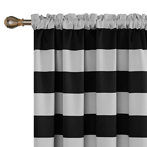 Deconovo Striped Blackout Curtains Rod Pocket Black and Greyish White Striped Curtains for Living Room 52W X 84L Black 2 Panel - Curtain White Black